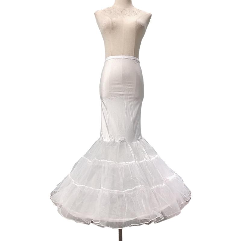 Ladies White Slim High Waist Ground Length Skirt Retro Vintage Crinoline Bottom Skirt Fashion Mermaid Wedding Costume Petticoat