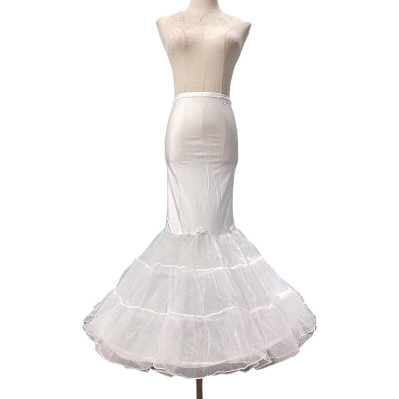 Señoras blanco Delgado alta cintura tierra longitud falda retro vintage crinolina inferior falda moda sirena boda disfraz enagua