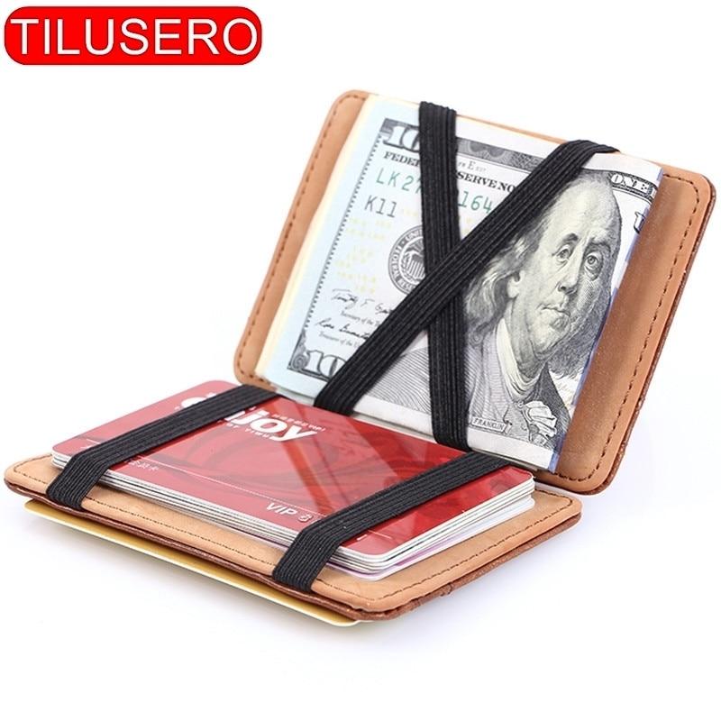 Fashion Men Slim Wallet Male Ultra Thin Short Men Magic Wallet Money Cash Card Holder Purse