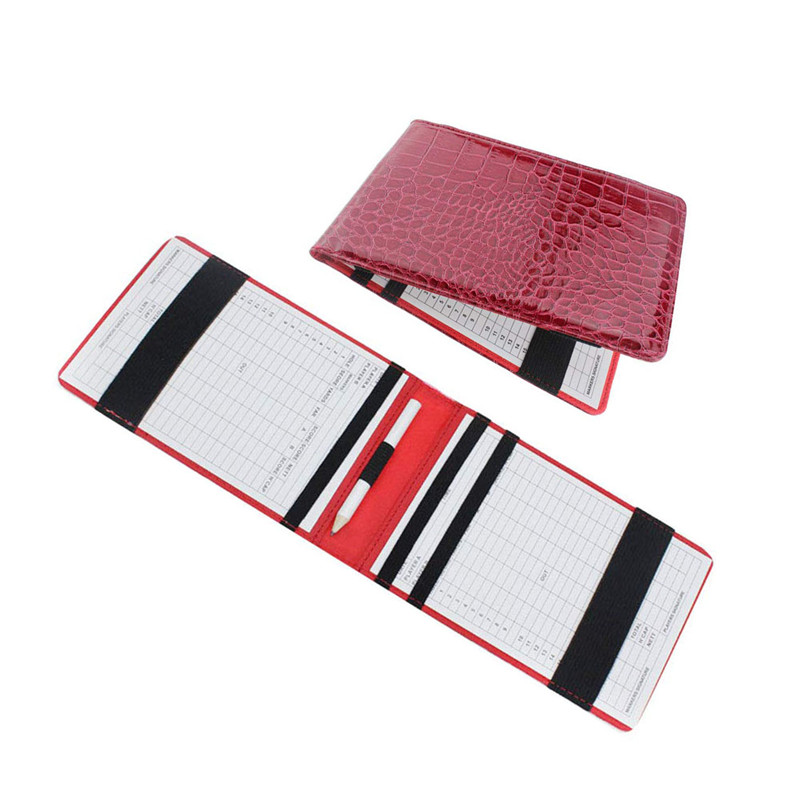 1pc PU Golf Scorecard Holder Keeper Golf Score Wallet Yard Book Cover Pocketbook Scoring With 2 Golf Score Cards 1 Pencil Gift