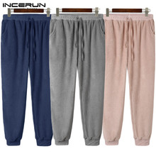 Pajamas Pants Homewear Sleep-Bottoms Mens Soft INCERUN Solid Drawstring-Pockets Flurry