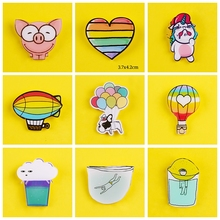 Cartoon Cute Brooches Acrylic Badges for Backpack Animals Badges for Clothes Rainbow Colors Pins for Backpacks Badge Accessories woman cute brooch models acrylic brooches pins badges