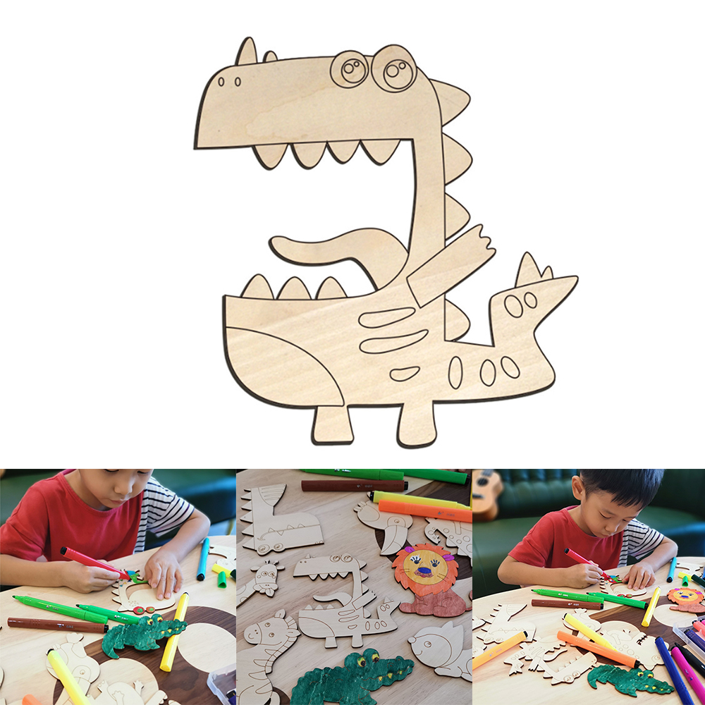 Manual Painting Animal Shapes Painting DIY Wooden Graffiti Board Toys For Children Educational Toys