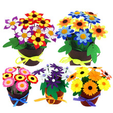 4 Pcs Flower Pot DIY Crafts Toys For Kids Potted Plant Handmade Flowers Bouquet Kindergarten Teaching Aids Toy Girls Christmas