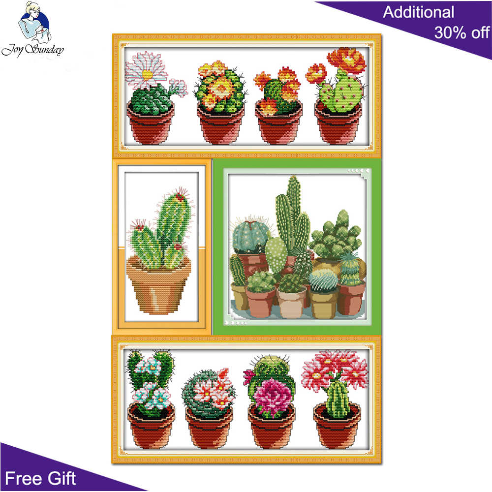 Joy Sunday Cactuses Home Decoration J165J170(1)J171(2)J217(2) 14CT 11CT Stamped and Counted Patterns dmc Cactuses Cross Stitch