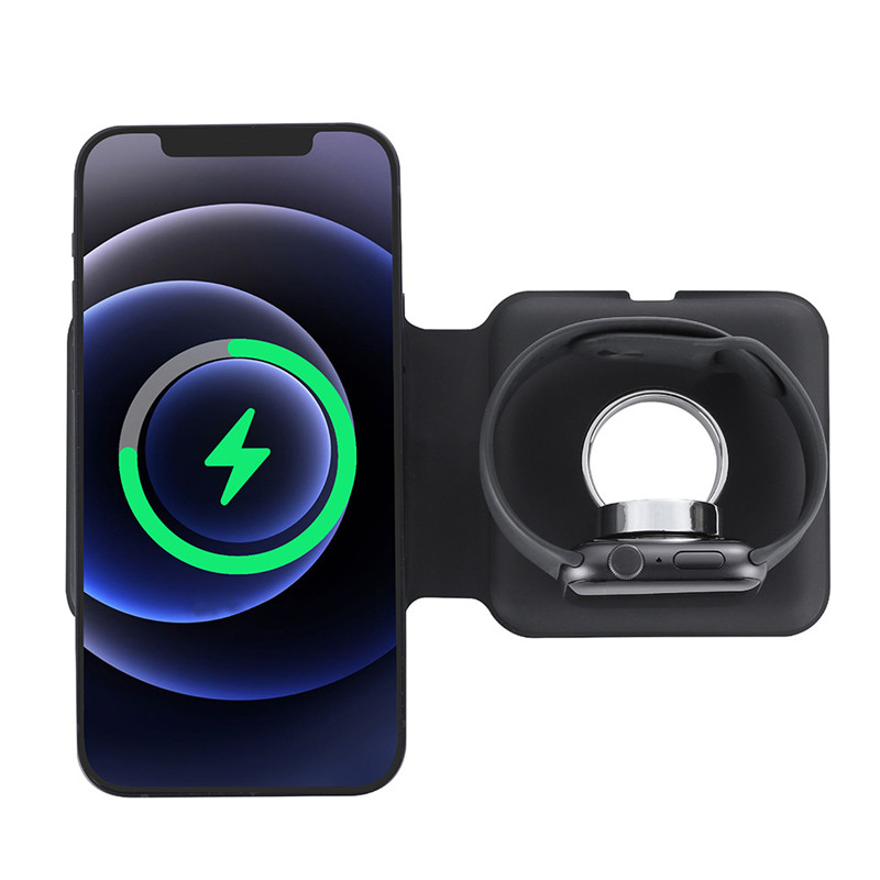 Qi 15w carregamento rápido sem fio 2 in1 magsafe duo carregador para iphone 12 pro para airpods acessórios do telefone charing doca