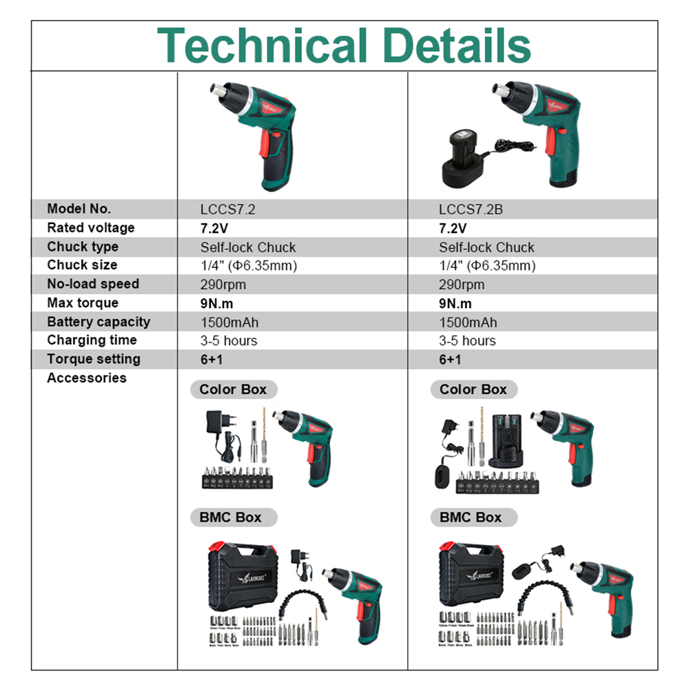 Light Power Screwdriver Cordless Electric Rechargeable 2V 7 With LED Household Drill Guns Screw