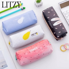 School PU Leather Pencil Case Fruit Watermelon Pineapple Pencil Bag for Girls Stationery Kawaii Pencil Box Office Supplies watermelon pattern jelly pencil case