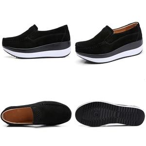 Image 5 - Sapatos de plataforma Plana para As Mulheres Deslizar sobre Mocassins de Couro de Vaca Genuína Balanço Sapatos Sapatos Rasos Senhoras Calçados Casuais Chaussures Femme