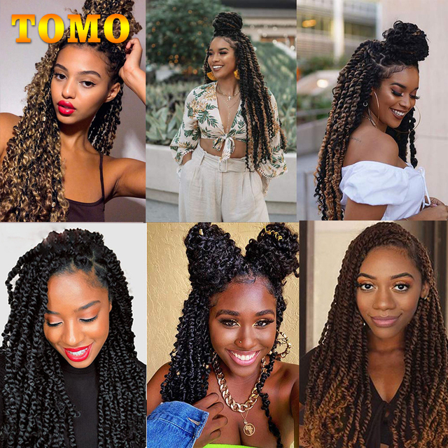 TOMO Passion Twist Crochet Hair 18 Inch Pre-looped Synthetic Crochet Braids Hair Extensions Ombre Braiding Hair Black Brown Red 6