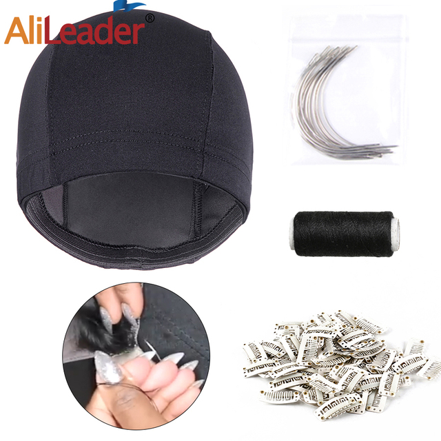 Alileader Best Quality 4Pcs Wig Making Kit Black Spandex Dome Cap/Weaving Thread/Weaving Needle/Clips Professional Diy Wig Tools