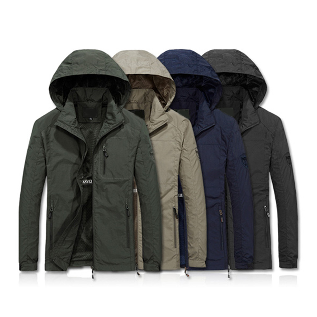 Outwear Jacket Coat Thin Military-Style Outdoor Breathable Parka Warm Autumn Men Hooded-Collar title=