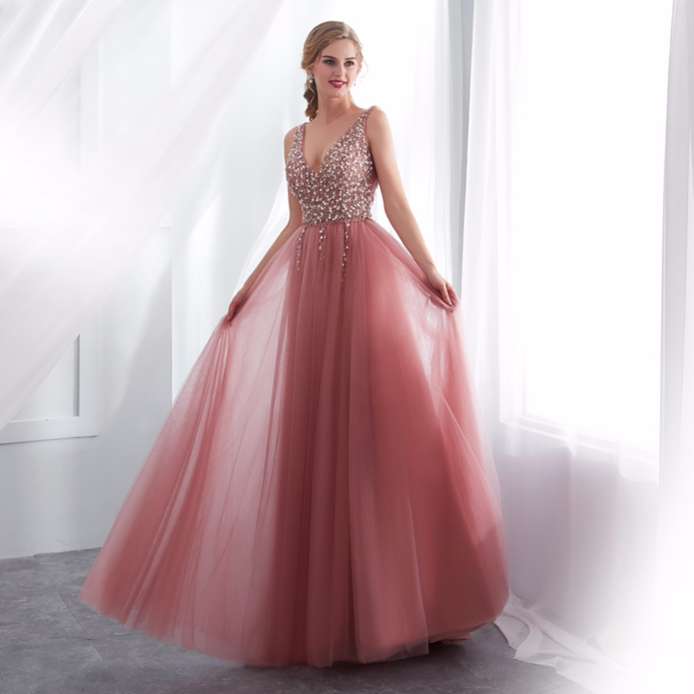 V-neck Sleeveless   Prom   Gowns 2019 Sexy Heavy Beading Split Front Tulle   Prom     Dress   Rose Pink Evening   Dress   vestido longo festa