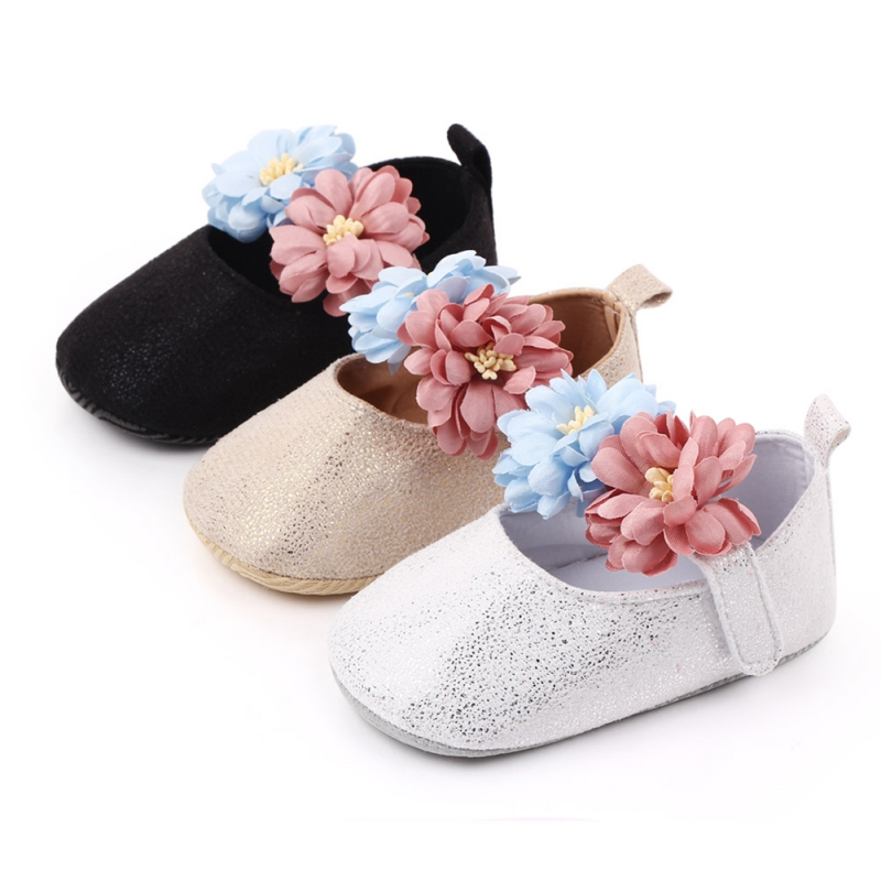 Infant Girls Shoes Sequin First Walkers Soft Newborn 0-18M Flower Flock Babies Shoes For Baby Girl Skid-Proof