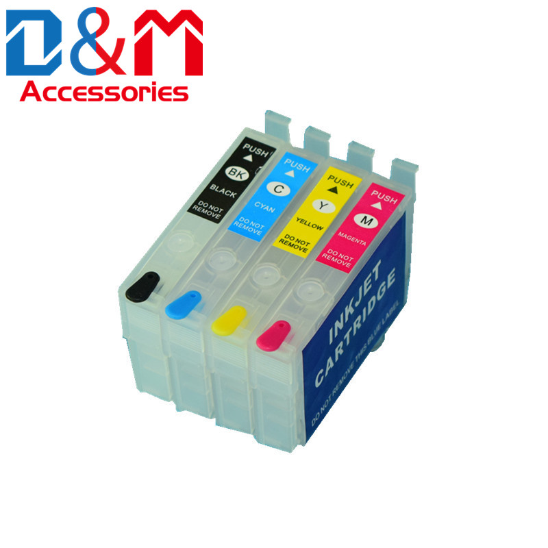 1Set Refillable Ink Cartridge No Chip 702 T702XL for Epson Workforce Pro WF-3720 WF-3733 WF-3730 ink tank