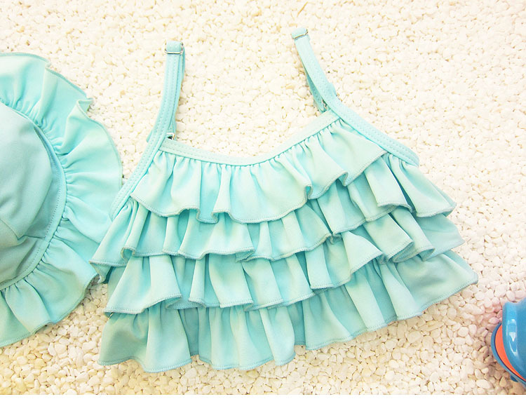 Size Girls South Korea Baby Infants Cute Child Children Cake Layer Two-piece Swimsuits With Hat