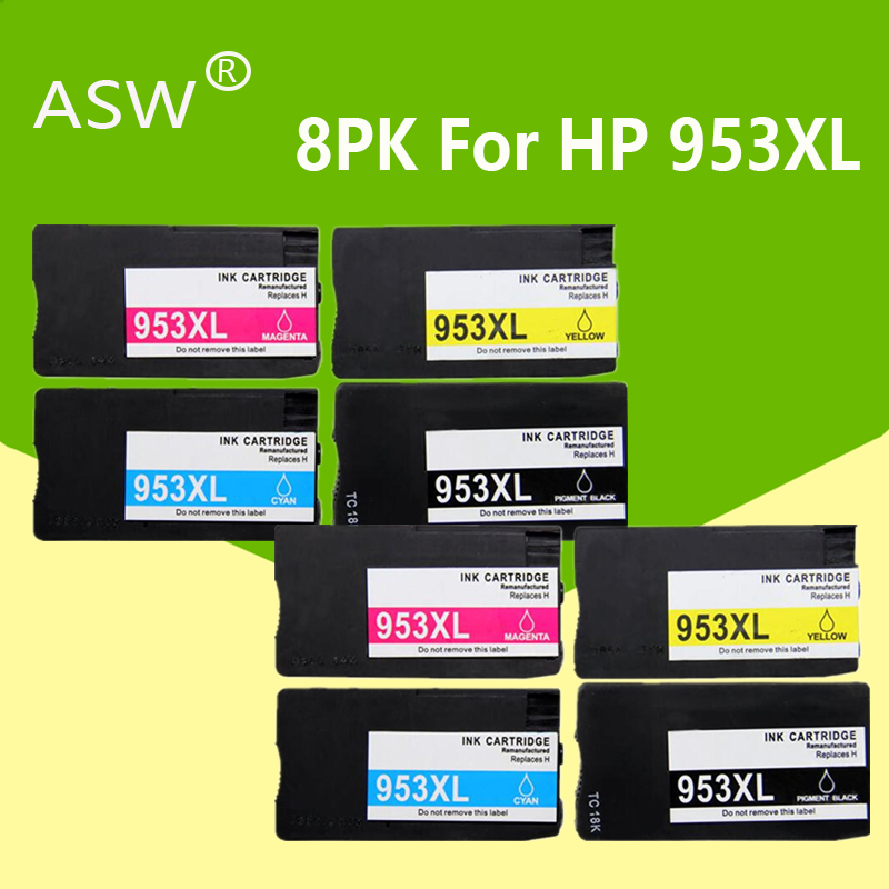 8PK Compatible Ink Cartridge <font><b>953</b></font> 953XL for <font><b>HP</b></font> pro 7740 8210 8218 8710 8715 8718 8719 8720 8725 8728 8730 8740 printer for hp953 image