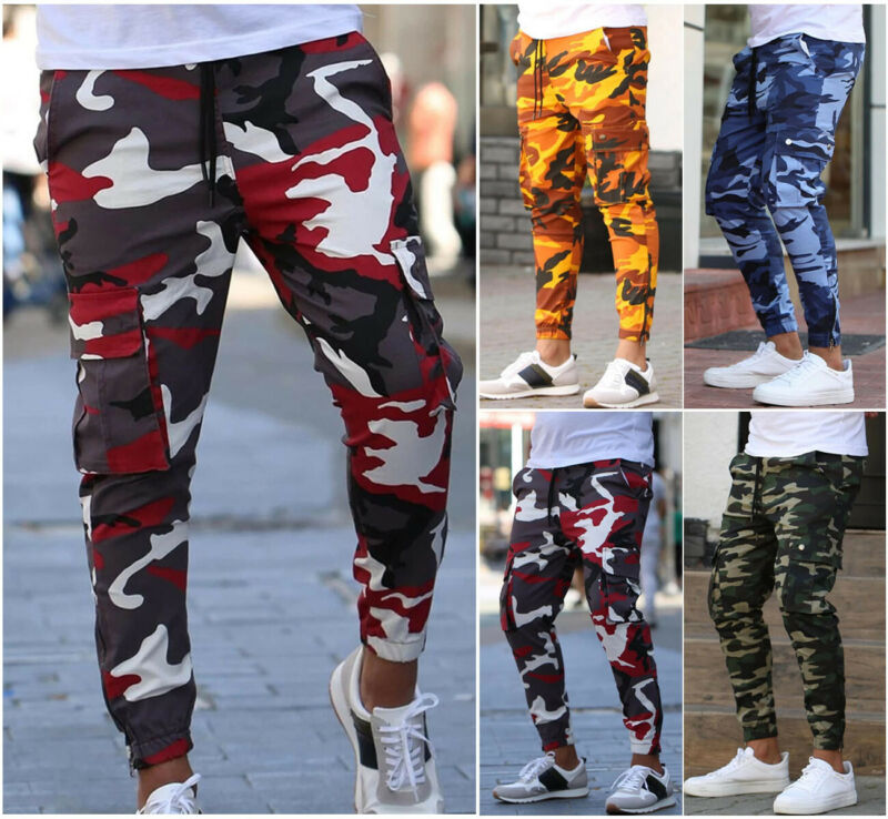 Fashion Mens Military Combat Trousers Camouflage Cargo Camo Army Casual Pants