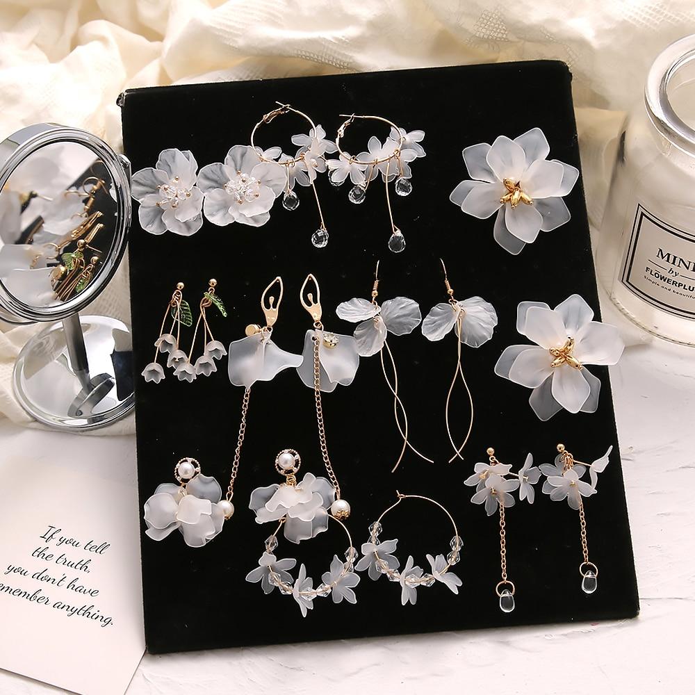 FNIO 2021 New Flower Bohemia Boho Earrings Women Fashion Long Hanging Earrings Crystal Female Wedding Earings Party Jewelry
