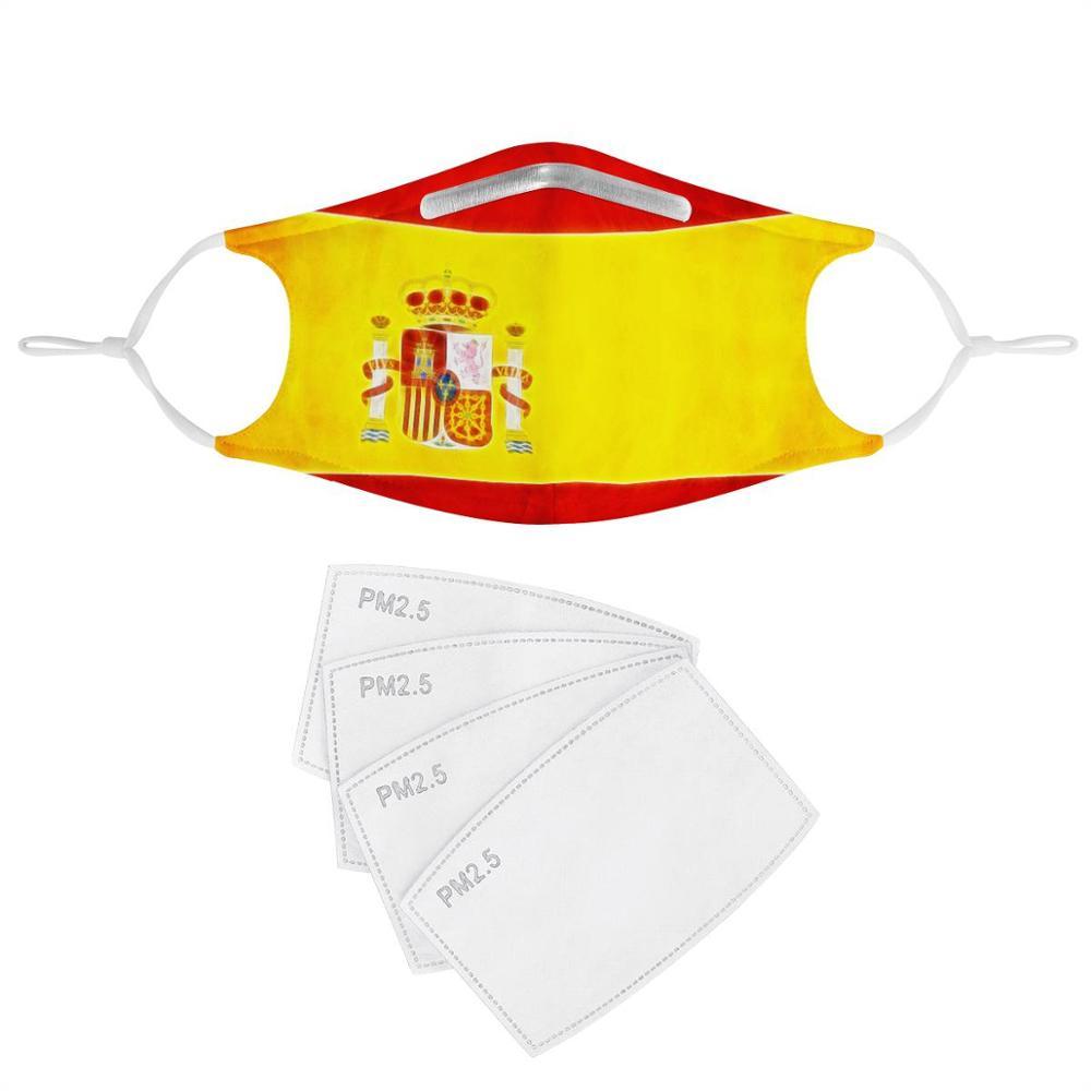 New Fashion Spain Flag Pattern 4Pcs Filter Gas Masks Carbon Insert Women Men Anti-dust Masks Washable Mask Reusable Face Mask