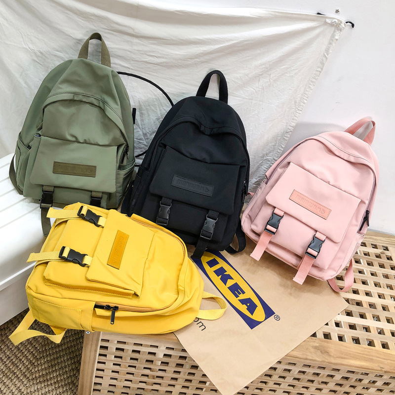 Hot New Fashion <font><b>Backpack</b></font> Solid Color School Bags For Teenage Girl Casual Travel <font><b>Backpack</b></font> Big Capacity Canvas Bag Women Bagpack image