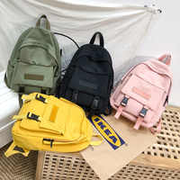 Hot New Fashion Backpack Solid Color School Bags For Teenage Girl Casual Travel Backpack Big Capacity Canvas Bag Women Bagpack