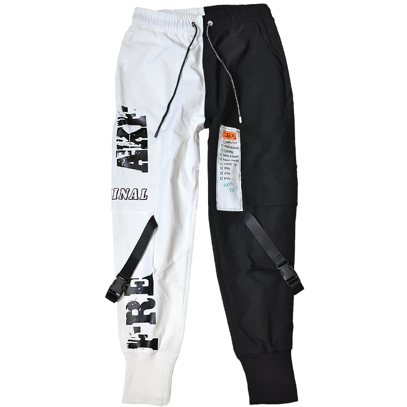 Hip Hop Ribbons Cargo Pants Men Joggers Pants Streetwear Men 2020 Fashion Mens Elastic Waist Pant Male Trousers Sweatpants