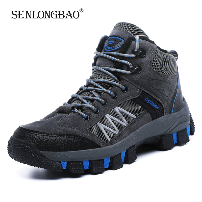 Brand New Winter Men Boots Men Warm Plush Snow Boots Waterproof Non-slip Men Ankle Boots Male Outdoor Lace-Up Hiking Shoes 39-45