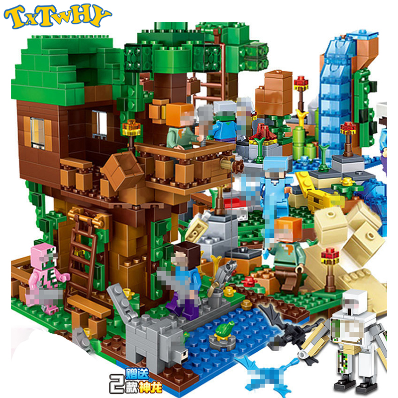 Compatible Legoinglys Building Blocks My Minecraftinglys Worlds Minecrafted With Elevator Bricks Toys For Children Gifts