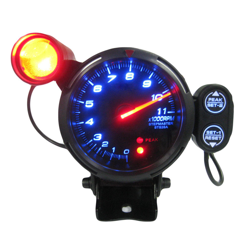 "3.5"" Tachometer Gauge Kit Blue LED 11000 RPM Meter with Adjustable Shift Light+Stepping Motor Black"