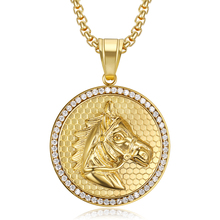 Hip Hop Iced Out Bling Horse Head Pendants Necklaces For Men Gold Color Stainless Steel Round CZ Necklace Jewelry Dropshipping hip hop iced out bling horse head pendants necklaces for men gold color stainless steel round cz necklace jewelry dropshipping