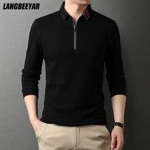 Polo à manches longues 100% coton pour homme, haut de gamme, de styliste, nouvelle marque à la mode, de qualité supérieure, style coréen, 2021