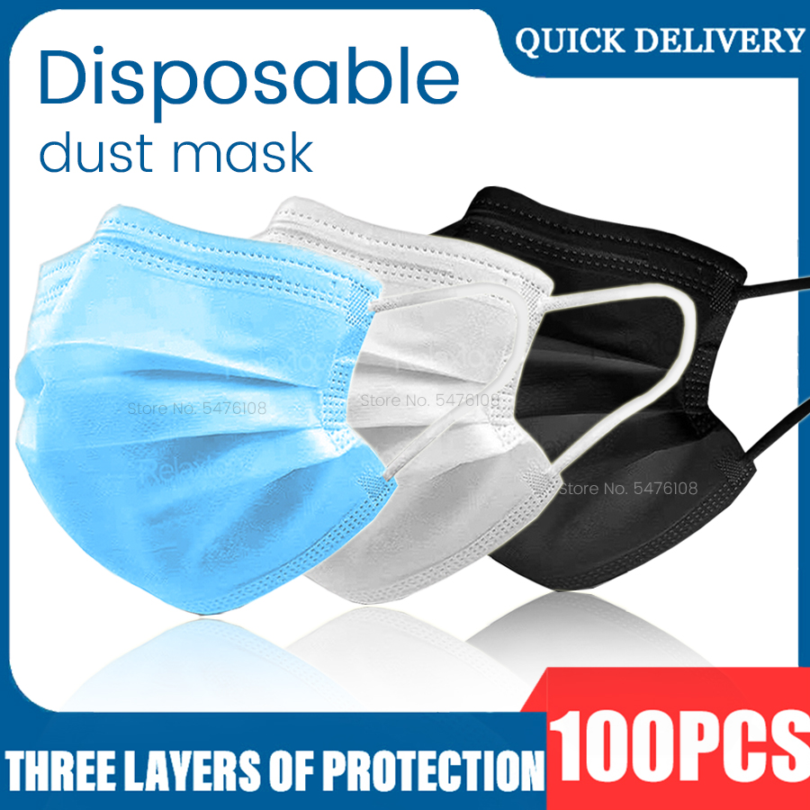 100Pcs Mask Disposable Masker Maskers Nonwove 3 Layers Ply Filter Mouth Safety Face Mask Filter Breathable Protective Masks