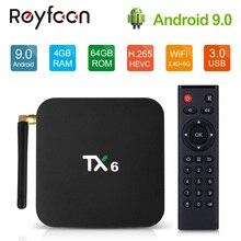 안드로이드 9.0 TV 박스 TX6 4 기가 바이트 64 기가 바이트 5.8G 와이파이 Allwinner H6 쿼드 코어 USB 3.0 BT4.2 4K 미디어 구글 플레이어 유튜브 셋톱 박스 TV 박스