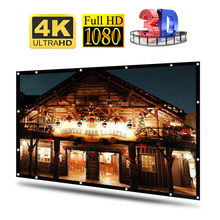 Pantalla de proyector HD de 100/120 pulgadas, proyección de vídeo Diagonal Dacron blanco 16:9, montada en la pared para cine en casa y película