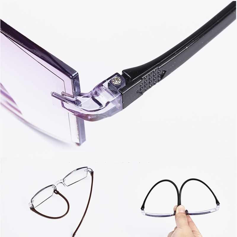 ผู้ชายผู้หญิงแว่นตาอ่าน Rimless Bifocal Far ใกล้ Anti Blue Light การขยายแว่นตา Presbyopic แว่นตา Diopter + 150 + 200