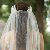 2020 New Design Wedding Hair Accessories Beading Acessoire de mariage Accessories Wedding Cape Veil