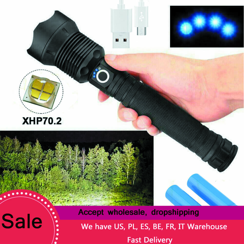 Most Powerful Led Flashlight USB Zoom Tactical Torch 18650 26650 Rechargeable Battery XHP90 Hand Light XLamp Xhp70.2 Flashlight