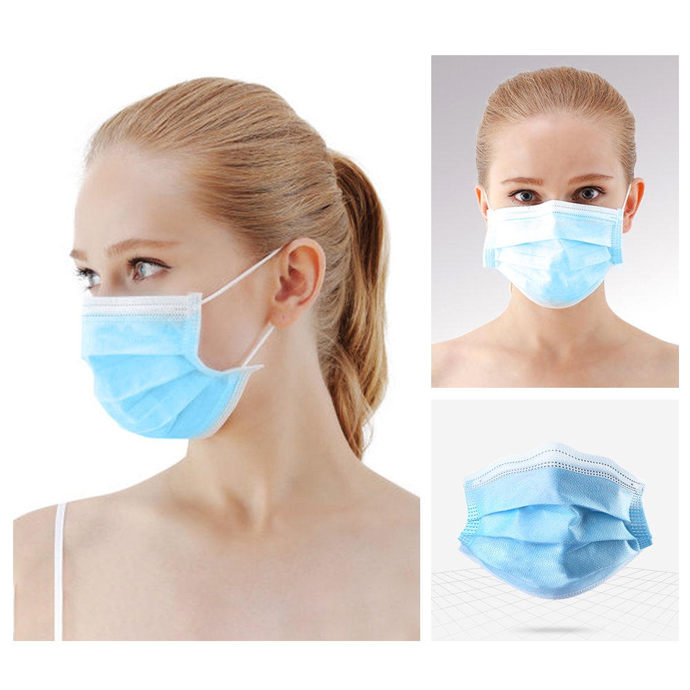 50 200pcs US CZ in Stock Disposable Mask 3 Layer Non woven Fabric Breathable Face Mask Anti Dust Pollution Flexible Mouth MaskMasks   -