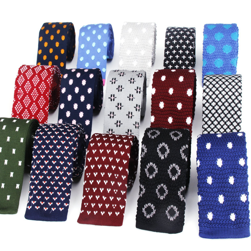 Brand New Knitted Ties For Men Dot Polyester Woven Mens Skinny Necktie For Party Business Brand Handmade Slim Weddubg Neck Tie