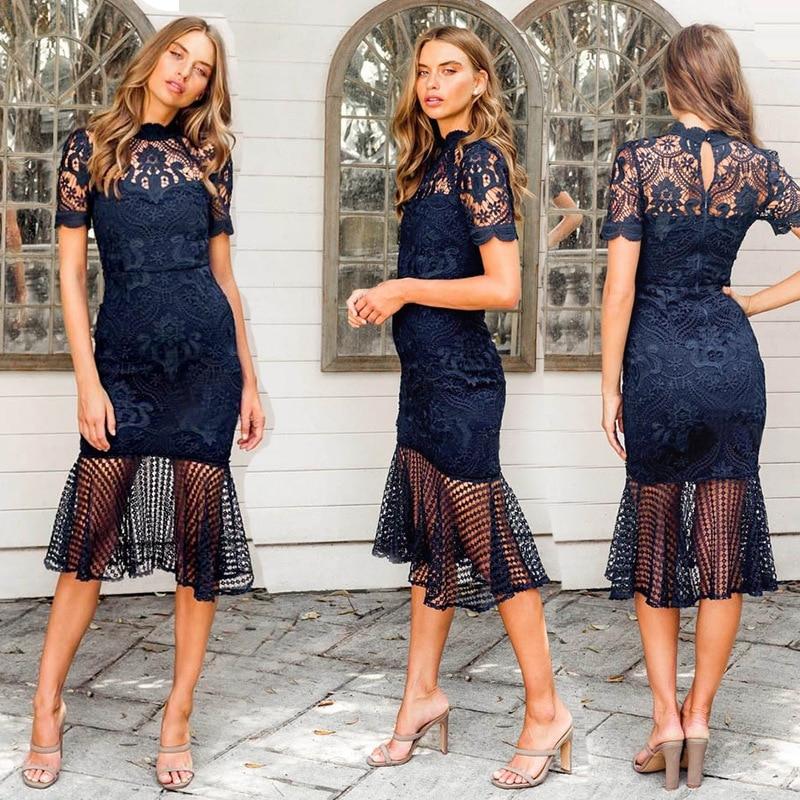 BacklakeGirls Robe De Soiree Elegant High Neck Short Sleeve Blue Lace Cocktail Dress Tea Length Women Dress Vestido De Festa