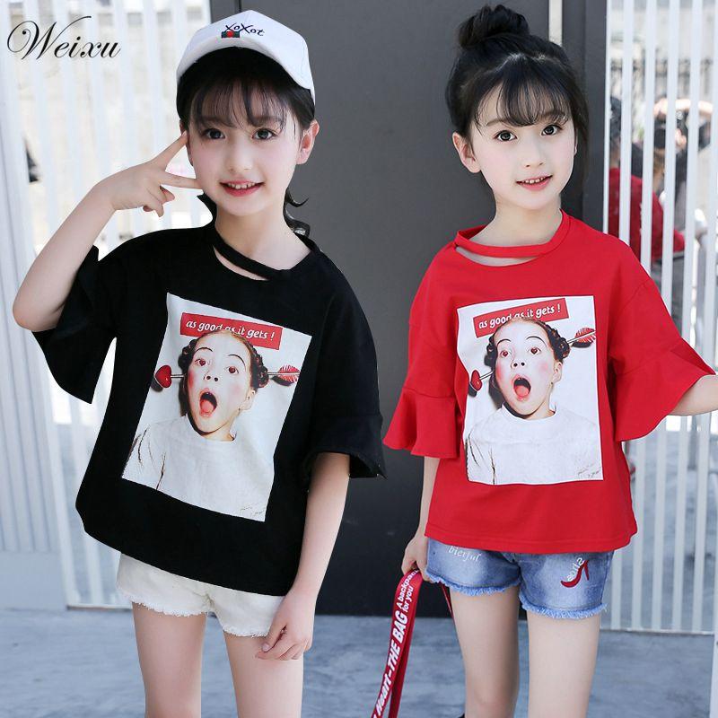 Weixu 5-14 Years Old Childrens T-shirts for Girls Korean Girl Short Sleeve Head Print Cotton T Shirt Kids Summer Top Clothes