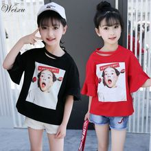 Weixu 5-14 Years Old Children's T-shirts for Girls Korean Girl Short Sleeve Head Print Cotton T Shirt Kids Summer Top Clothes цена и фото