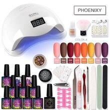 Set de manicura, conjunto de esmalte de uñas, lámpara LED de 48W para extensión de uñas, decoración semipermanente, utensilios para decoración de uñas, Kit de manicura esmerilado
