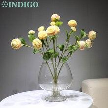 цена на INDIGO- Wedding Flower (1stem 3 flowers) 42cm Silk Rose Peony Spray Tea Rose Silk Flower Floral Even Party Flower Free Shipping