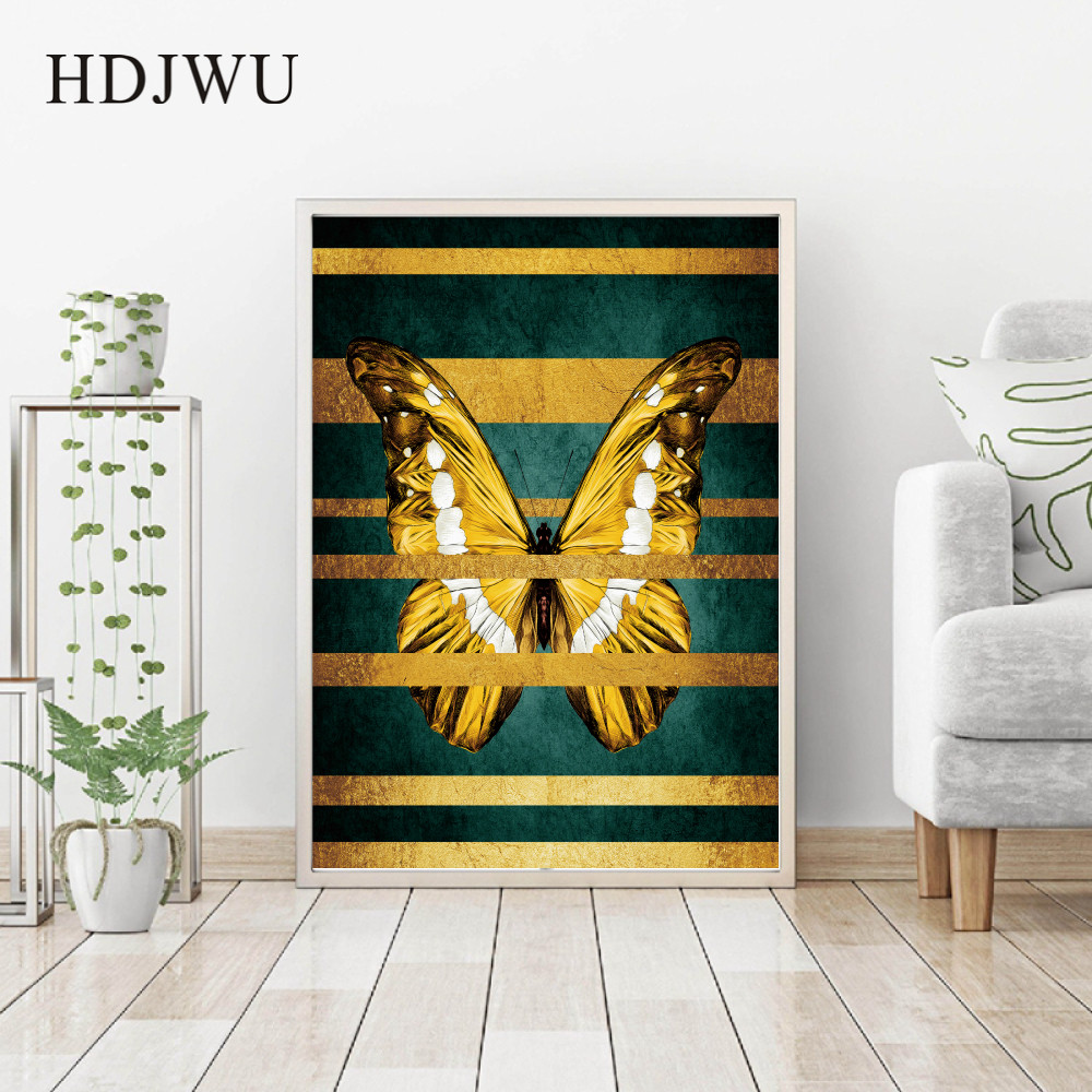 Nordic Simple Butterfly Gold Foil Art Canvas Wall Painting Picture Home Printing Posters Pictures for Living Room DJ649