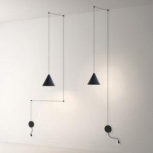 Design de fio longo moderno led luzes pingente geométrico luminária para sala estar cabeceira arandela pendurado luminária