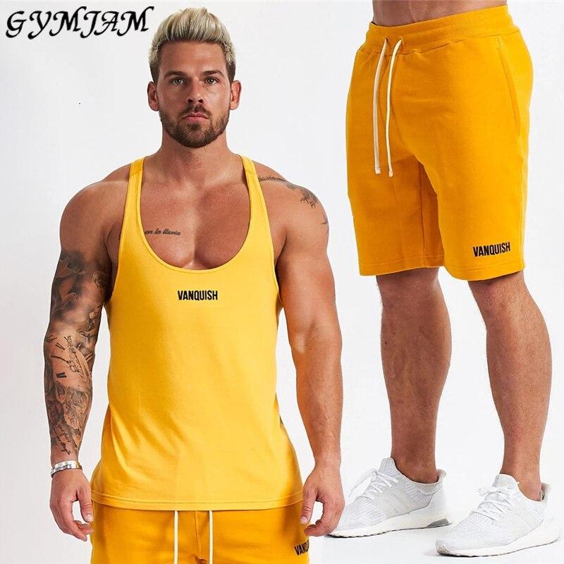 Cotton Men's Suit 2020 New Summer Men's Sportswear Suspender Shirt Men's Vest Men's Shorts Jogger Fashion Brand Men's Clothing