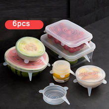 Kitchen Accessories 6Pcs Universal Food Silicone Cover Reusable Stretch Lids Caps For Cookware Pot Drop ship