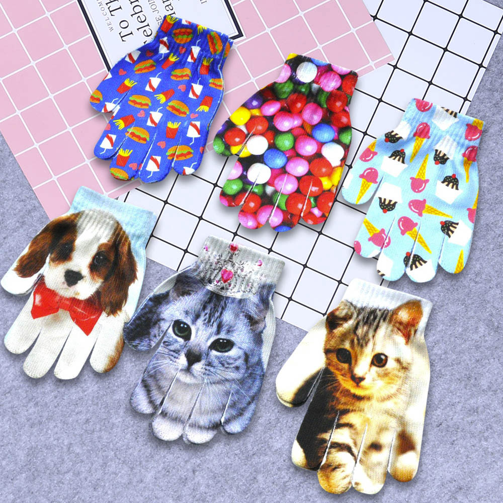 Модные Детские Зимние перчатки для девочек и мальчиков с милым 3D-принтом, теплые женские перчатки для улицы, женские зимние теплые перчатки для мобильного телефона